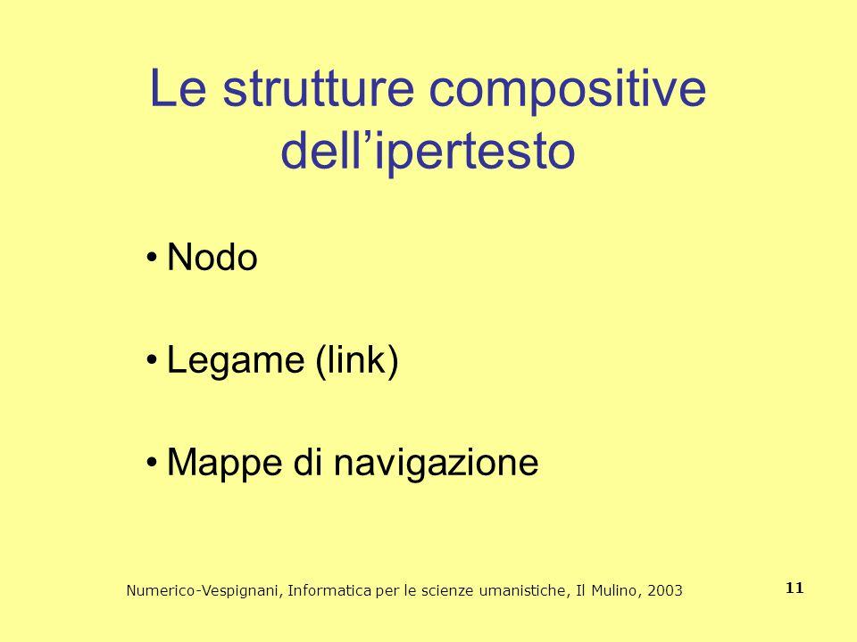 Numerico-Vespignani, Informatica per le scienze umanistiche, Il Mulino, 2003 11 Le strutture compositive dellipertesto Nodo Legame (link) Mappe di nav