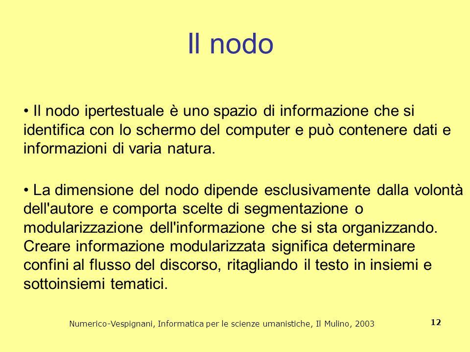 Numerico-Vespignani, Informatica per le scienze umanistiche, Il Mulino, 2003 12 Il nodo Il nodo ipertestuale è uno spazio di informazione che si ident