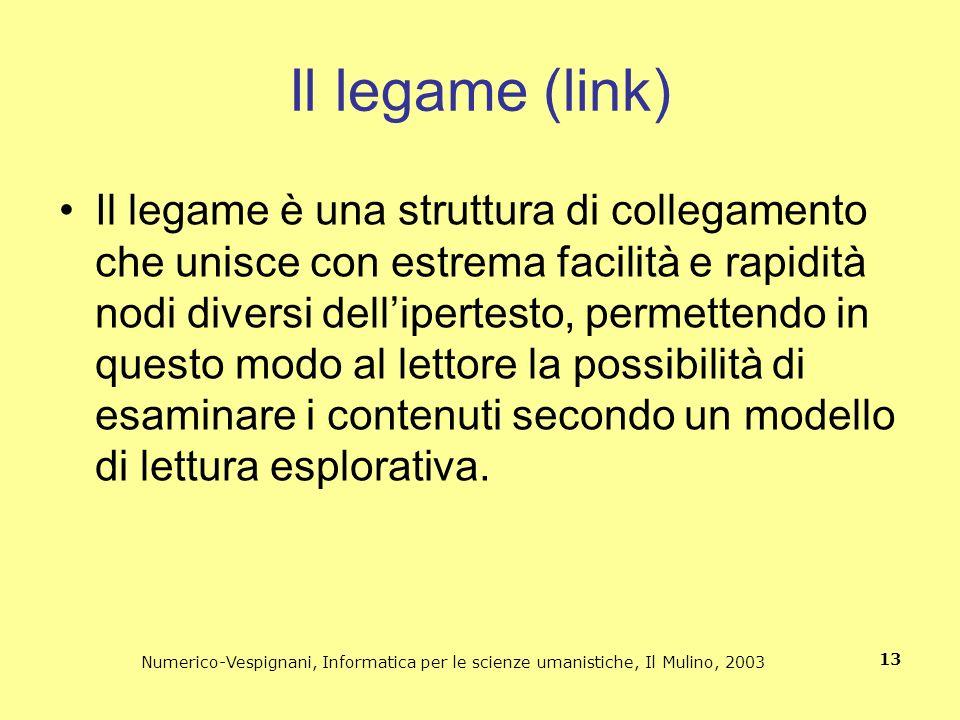 Numerico-Vespignani, Informatica per le scienze umanistiche, Il Mulino, 2003 13 Il legame (link) Il legame è una struttura di collegamento che unisce