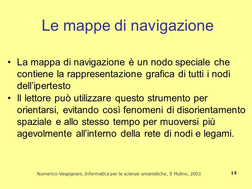 Numerico-Vespignani, Informatica per le scienze umanistiche, Il Mulino, 2003 14 Le mappe di navigazione La mappa di navigazione è un nodo speciale che