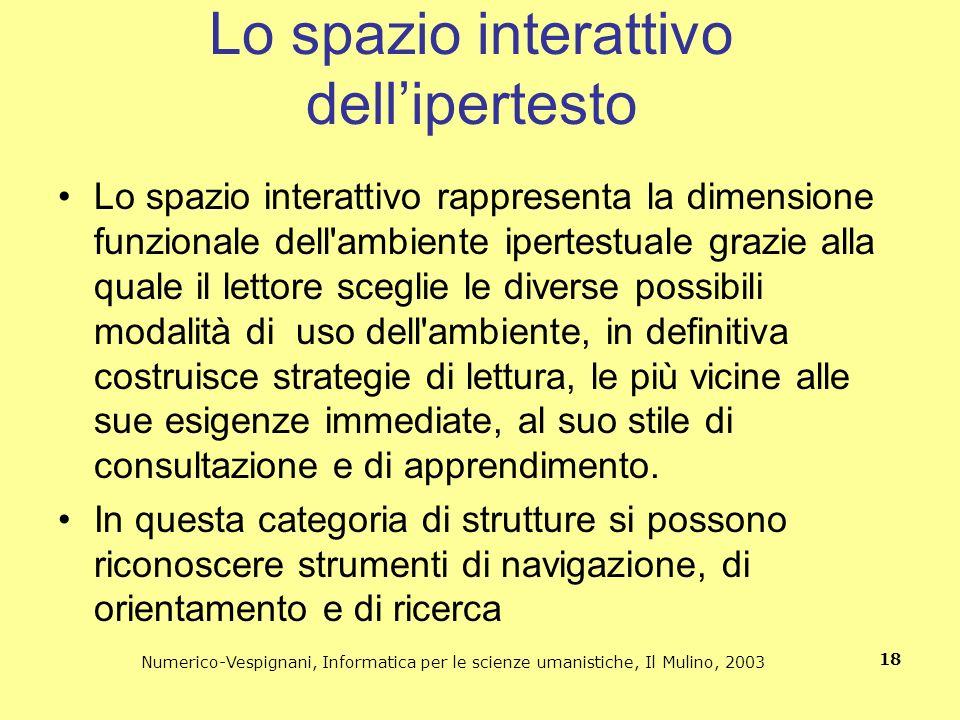 Numerico-Vespignani, Informatica per le scienze umanistiche, Il Mulino, 2003 18 Lo spazio interattivo dellipertesto Lo spazio interattivo rappresenta
