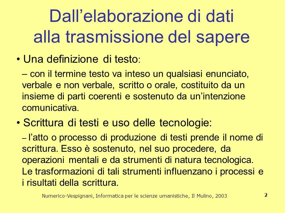 Numerico-Vespignani, Informatica per le scienze umanistiche, Il Mulino, 2003 2 Dallelaborazione di dati alla trasmissione del sapere Una definizione d