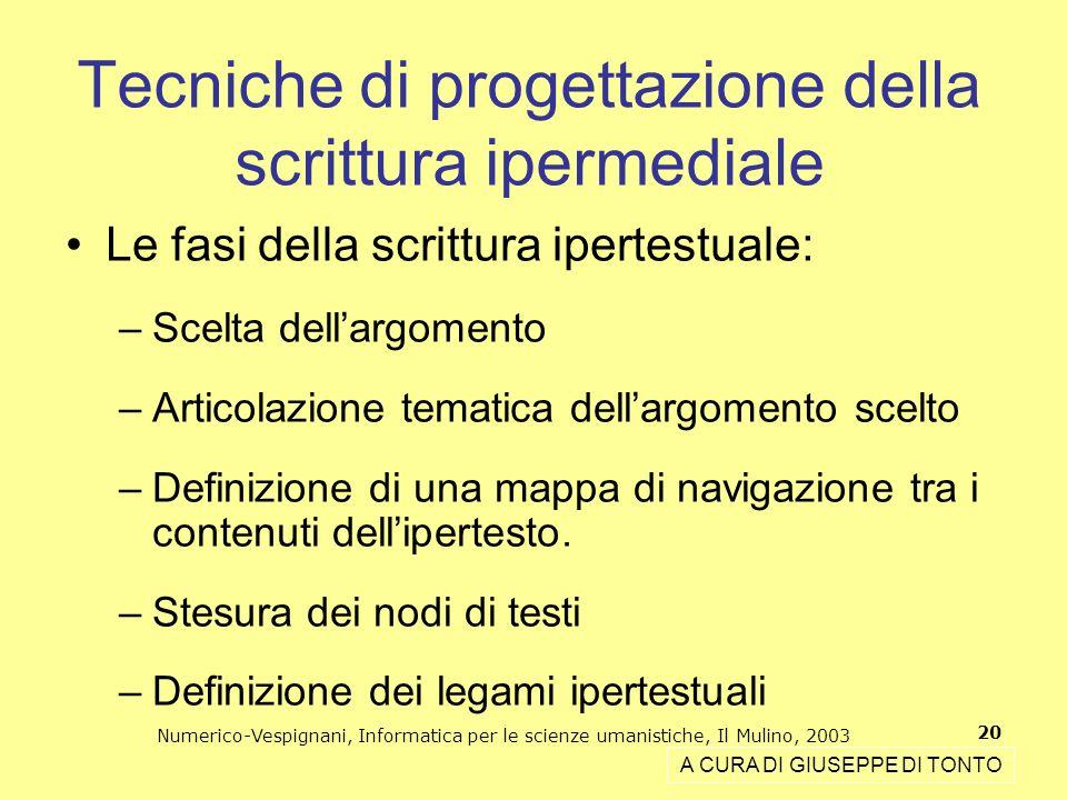 Numerico-Vespignani, Informatica per le scienze umanistiche, Il Mulino, 2003 20 Tecniche di progettazione della scrittura ipermediale A CURA DI GIUSEP