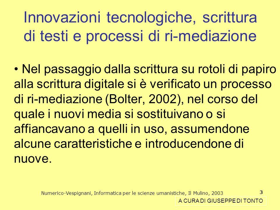 Numerico-Vespignani, Informatica per le scienze umanistiche, Il Mulino, 2003 3 Nel passaggio dalla scrittura su rotoli di papiro alla scrittura digita