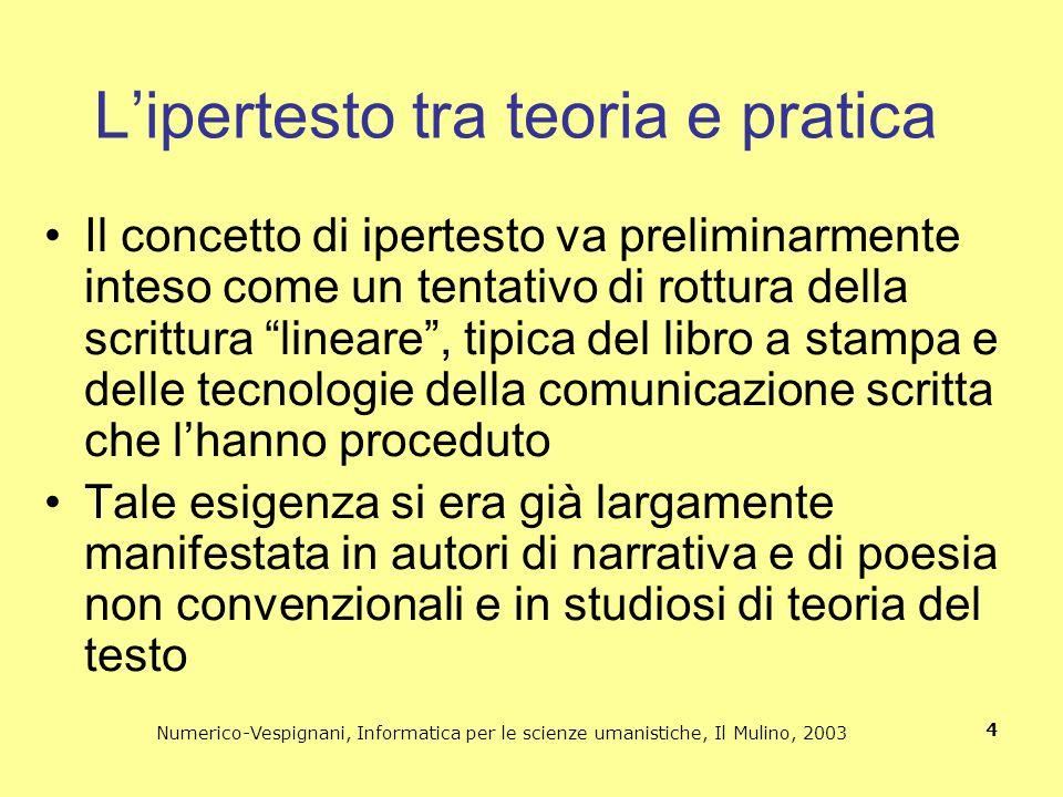 Numerico-Vespignani, Informatica per le scienze umanistiche, Il Mulino, 2003 4 Il concetto di ipertesto va preliminarmente inteso come un tentativo di