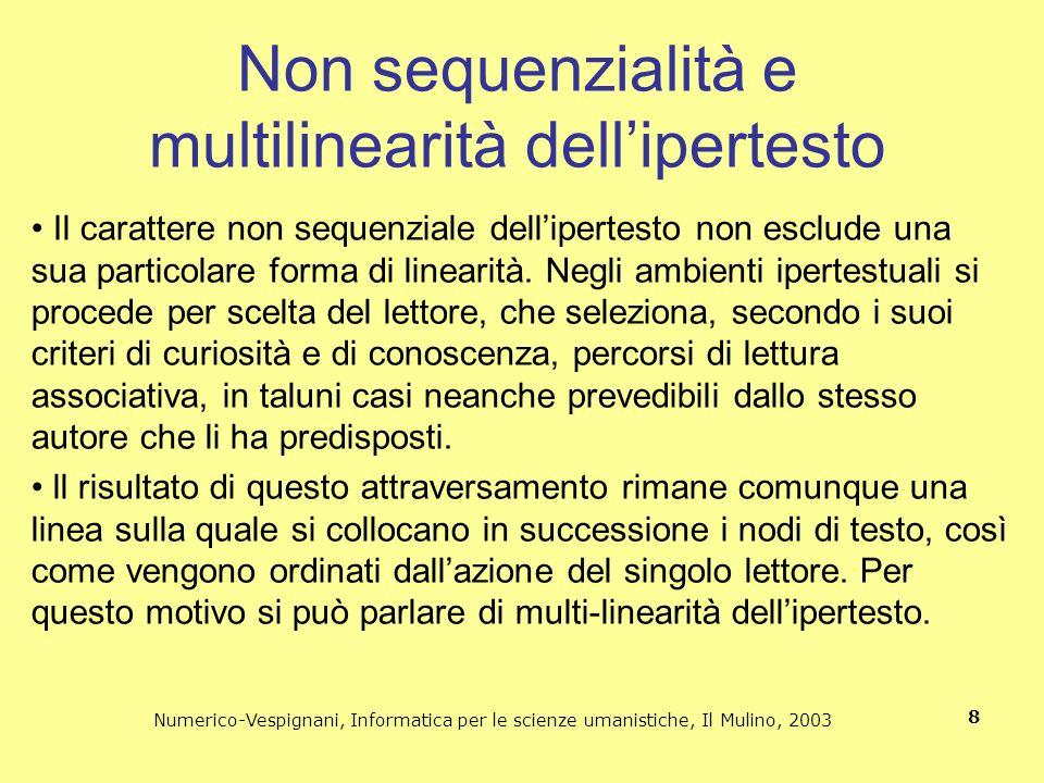 Numerico-Vespignani, Informatica per le scienze umanistiche, Il Mulino, 2003 9 Lipertesto è una struttura testuale aperta al cambiamento attraverso la connessione a nuovi testi associativamente collegati.