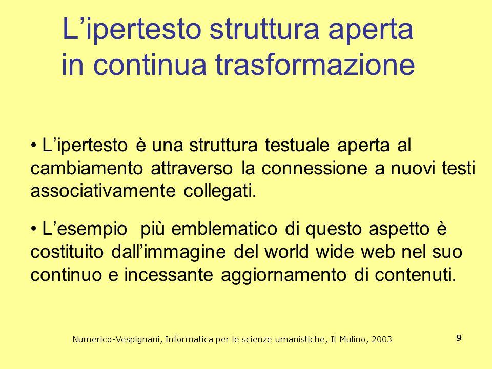 Numerico-Vespignani, Informatica per le scienze umanistiche, Il Mulino, 2003 9 Lipertesto è una struttura testuale aperta al cambiamento attraverso la