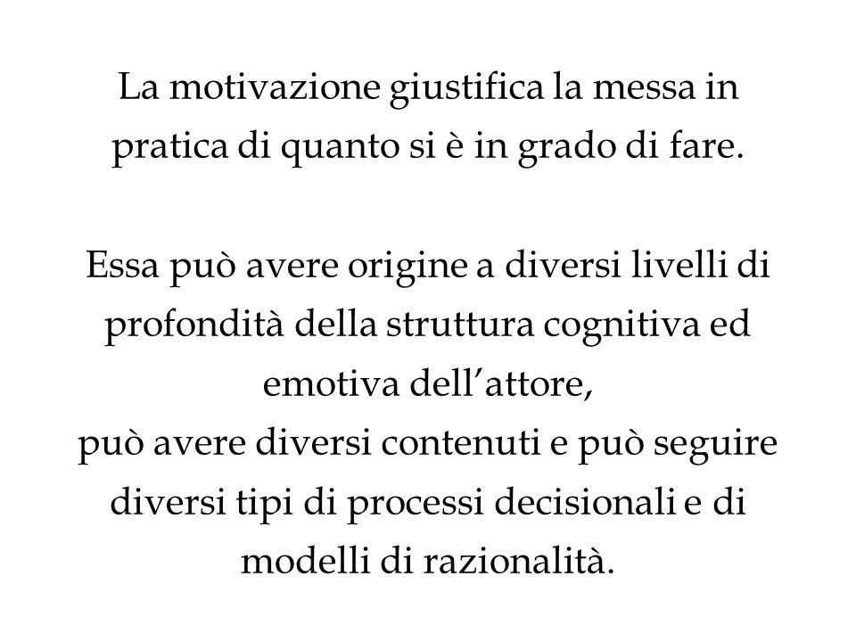 La motivazione giustifica la messa in pratica di quanto si è in grado di fare. Essa può avere origine a diversi livelli di profondità della struttura