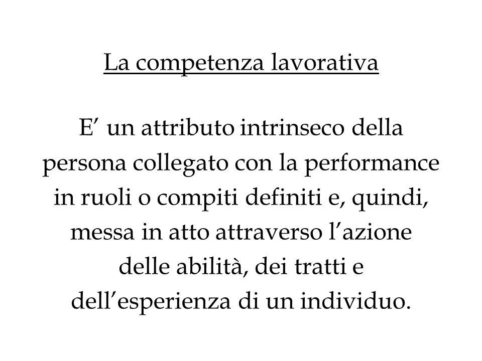 La competenza lavorativa E un attributo intrinseco della persona collegato con la performance in ruoli o compiti definiti e, quindi, messa in atto att