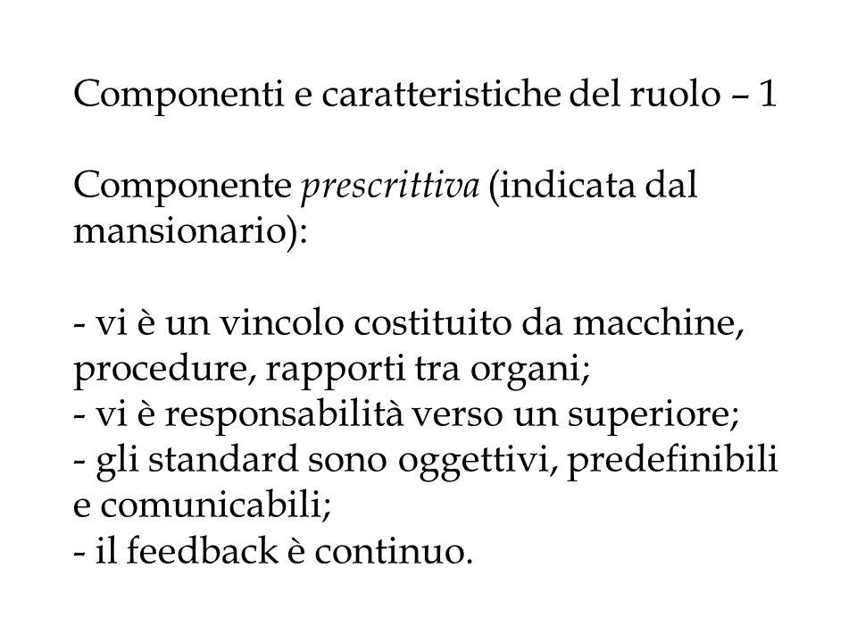 Componenti e caratteristiche del ruolo – 1 Componente prescrittiva (indicata dal mansionario): - vi è un vincolo costituito da macchine, procedure, ra
