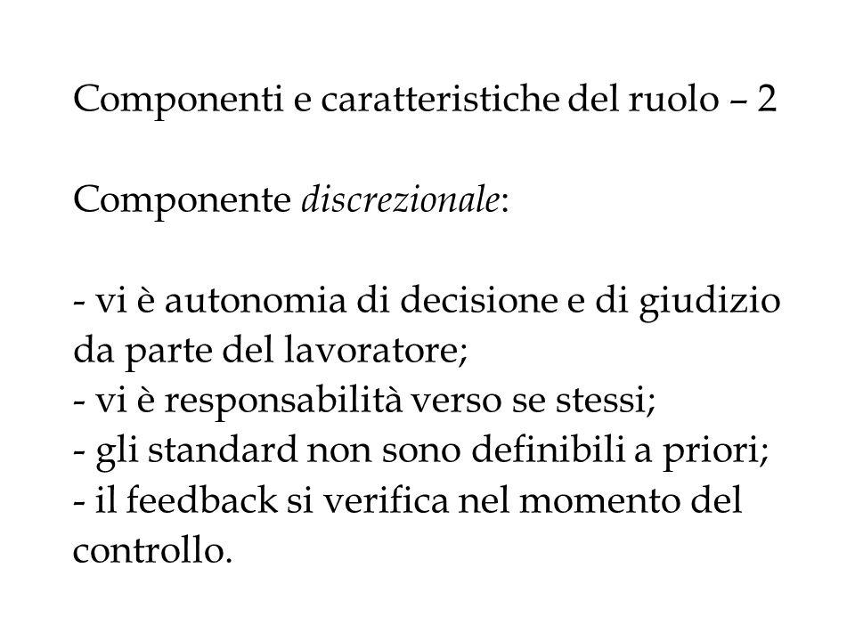 Componenti e caratteristiche del ruolo – 2 Componente discrezionale : - vi è autonomia di decisione e di giudizio da parte del lavoratore; - vi è resp