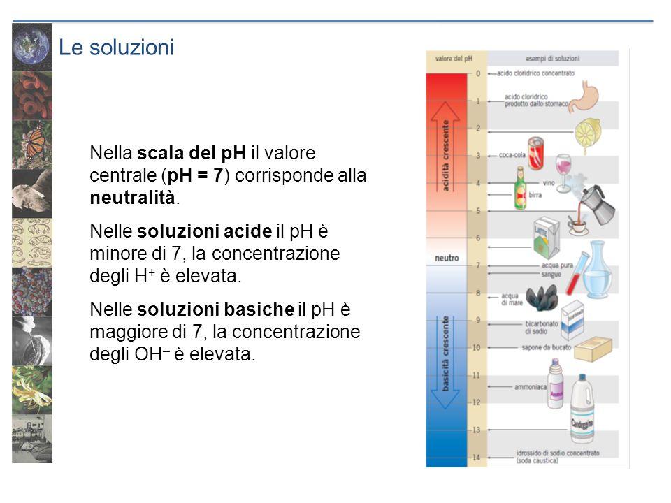 Le soluzioni Nella scala del pH il valore centrale (pH = 7) corrisponde alla neutralità. Nelle soluzioni acide il pH è minore di 7, la concentrazione