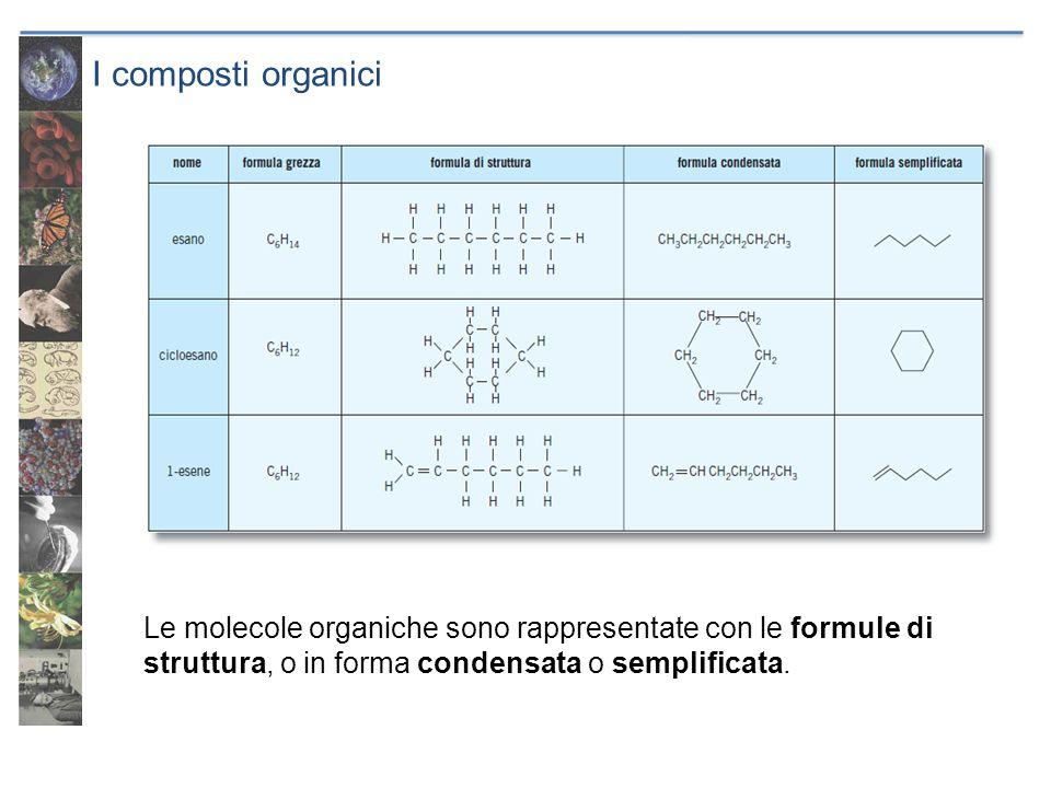 I composti organici Le molecole organiche sono rappresentate con le formule di struttura, o in forma condensata o semplificata.