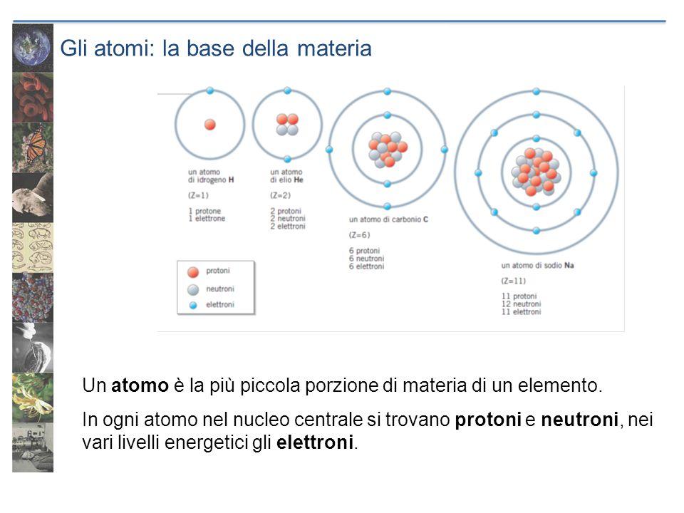 Gli atomi: la base della materia Un atomo è la più piccola porzione di materia di un elemento. In ogni atomo nel nucleo centrale si trovano protoni e