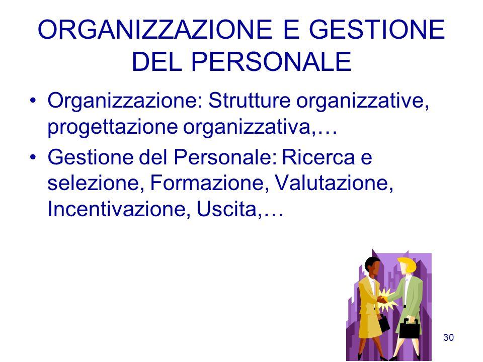 29 SISTEMI INFORMATIVI Questarea si occupa della produzione di informazioni a supporto della gestione. Il sistema informativo consente la raccolta, le