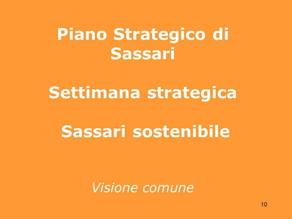 10 Piano Strategico di Sassari Settimana strategica Sassari sostenibile Visione comune