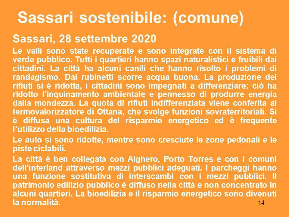 14 Sassari, 28 settembre 2020 Le valli sono state recuperate e sono integrate con il sistema di verde pubblico.