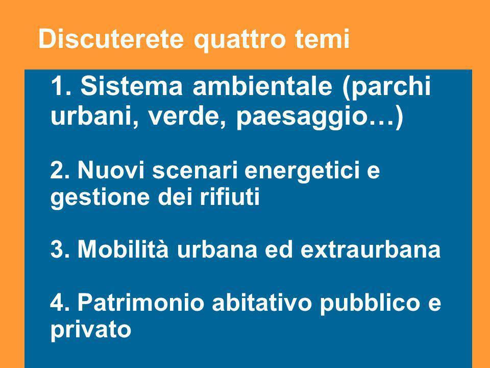 3 1. Sistema ambientale (parchi urbani, verde, paesaggio…) 2.