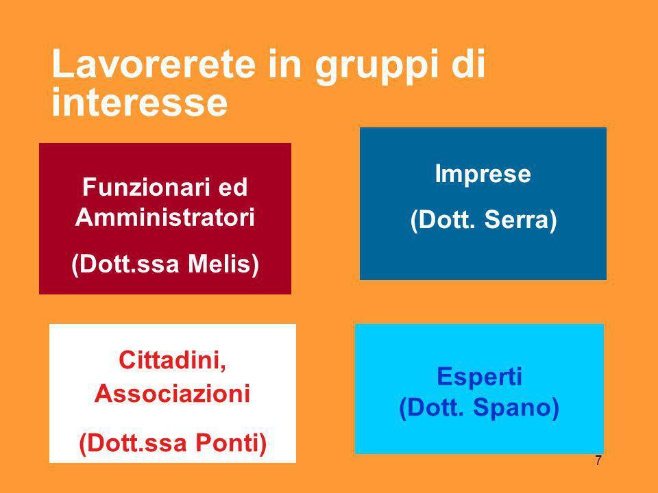 7 Lavorerete in gruppi di interesse Funzionari ed Amministratori (Dott.ssa Melis) Imprese (Dott.