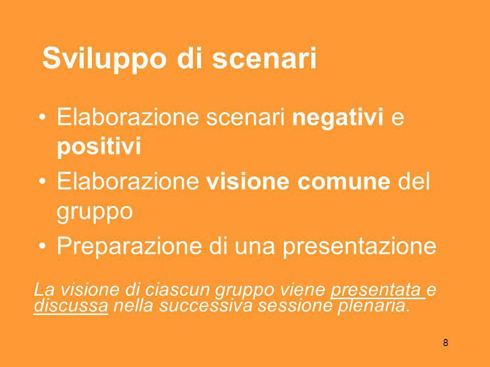 8 Sviluppo di scenari Elaborazione scenari negativi e positivi Elaborazione visione comune del gruppo Preparazione di una presentazione La visione di ciascun gruppo viene presentata e discussa nella successiva sessione plenaria.