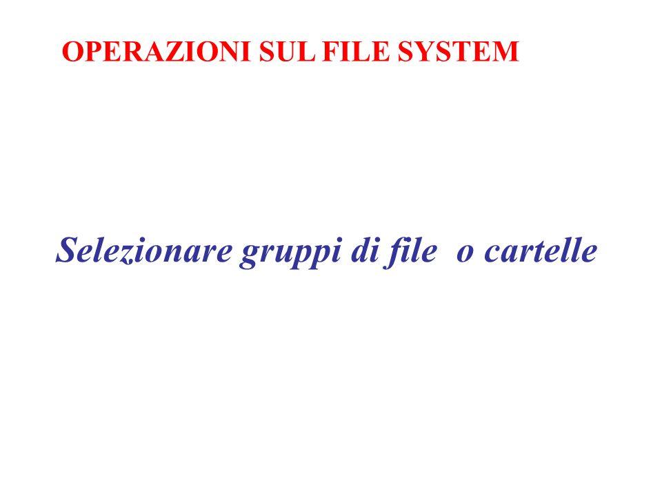 Selezionare gruppi di file o cartelle OPERAZIONI SUL FILE SYSTEM