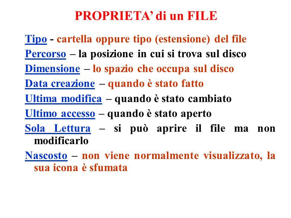 Tipo - cartella oppure tipo (estensione) del file Percorso – la posizione in cui si trova sul disco Dimensione – lo spazio che occupa sul disco Data c