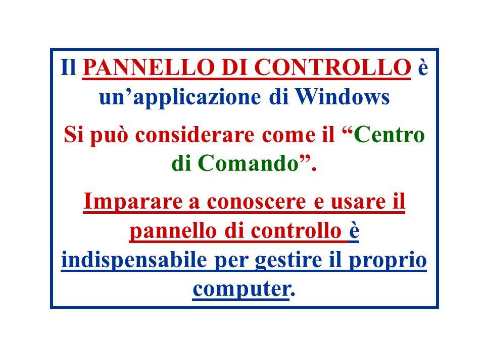 Il PANNELLO DI CONTROLLO è unapplicazione di Windows Si può considerare come il Centro di Comando. Imparare a conoscere e usare il pannello di control