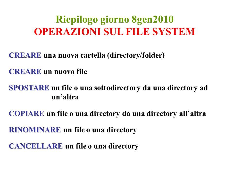 Riepilogo giorno 8gen2010 OPERAZIONI SUL FILE SYSTEM CREARE CREARE una nuova cartella (directory/folder) CREARE CREARE un nuovo file SPOSTARE SPOSTARE