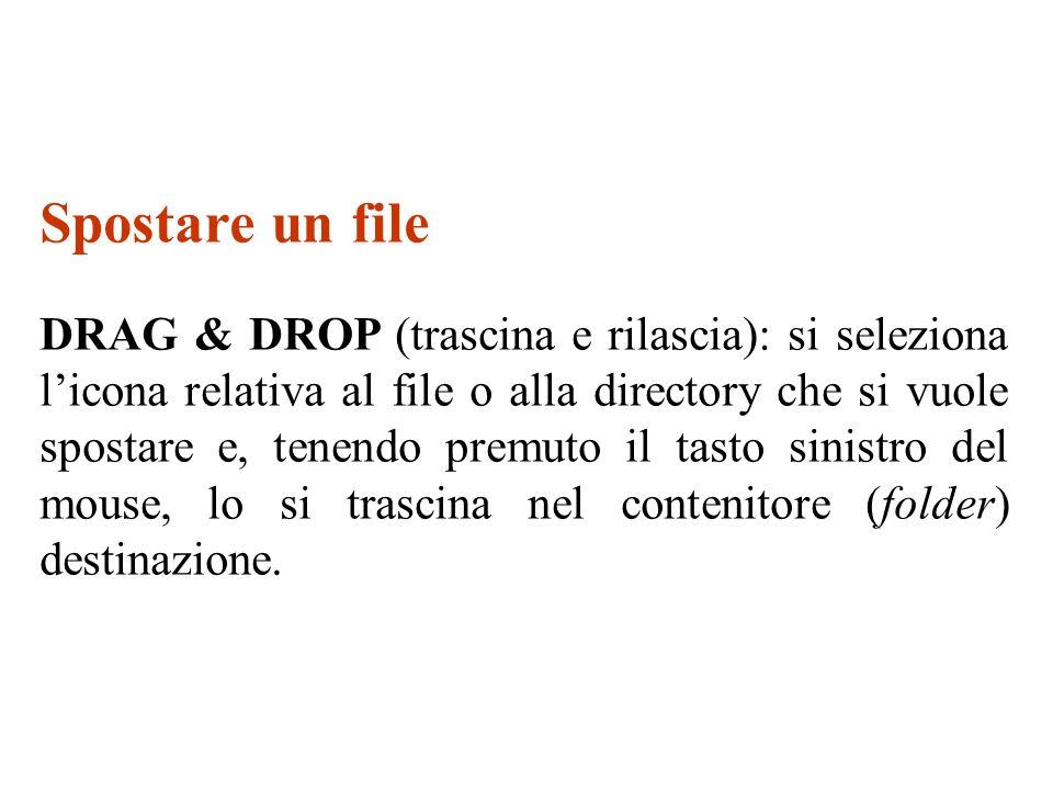 Spostare un file DRAG & DROP (trascina e rilascia): si seleziona licona relativa al file o alla directory che si vuole spostare e, tenendo premuto il