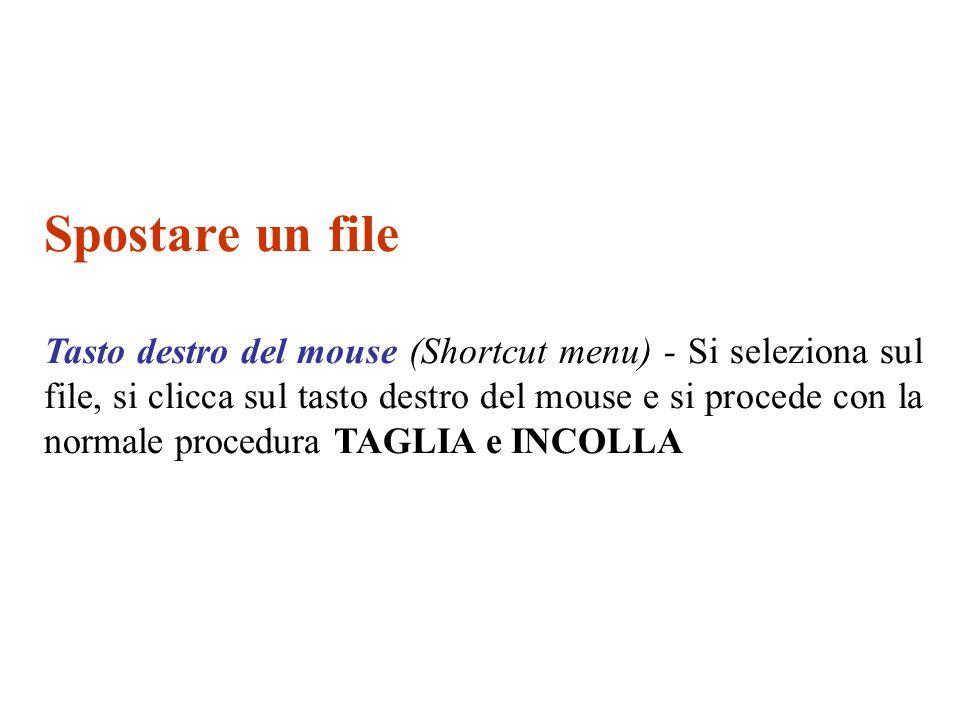 Copiare un file Tasto destro del mouse (Shortcut menu) - Si seleziona sul file, si clicca sul tasto destro del mouse e si procede con la normale procedura COPIA e INCOLLA Comandi da tastiera: COPIA = CTRL + C INCOLLA = CTRL + V