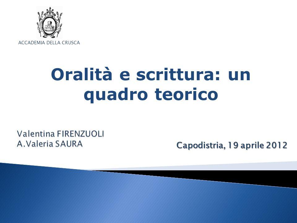 Capodistria, 19 aprile 2012 ACCADEMIA DELLA CRUSCA Oralità e scrittura: un quadro teorico