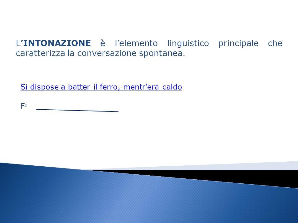 LINTONAZIONE è lelemento linguistico principale che caratterizza la conversazione spontanea.