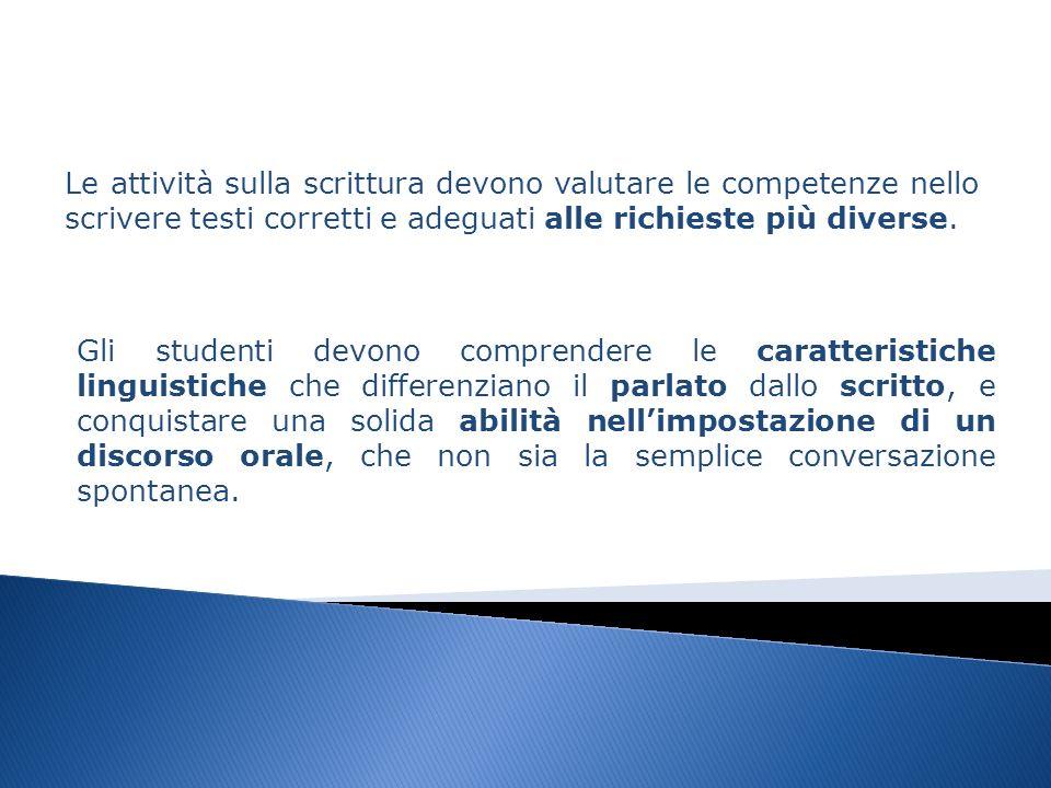 Le attività sulla scrittura devono valutare le competenze nello scrivere testi corretti e adeguati alle richieste più diverse.