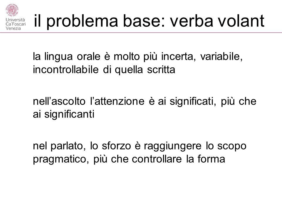 il problema base: verba volant la lingua orale è molto più incerta, variabile, incontrollabile di quella scritta nellascolto lattenzione è ai significati, più che ai significanti nel parlato, lo sforzo è raggiungere lo scopo pragmatico, più che controllare la forma