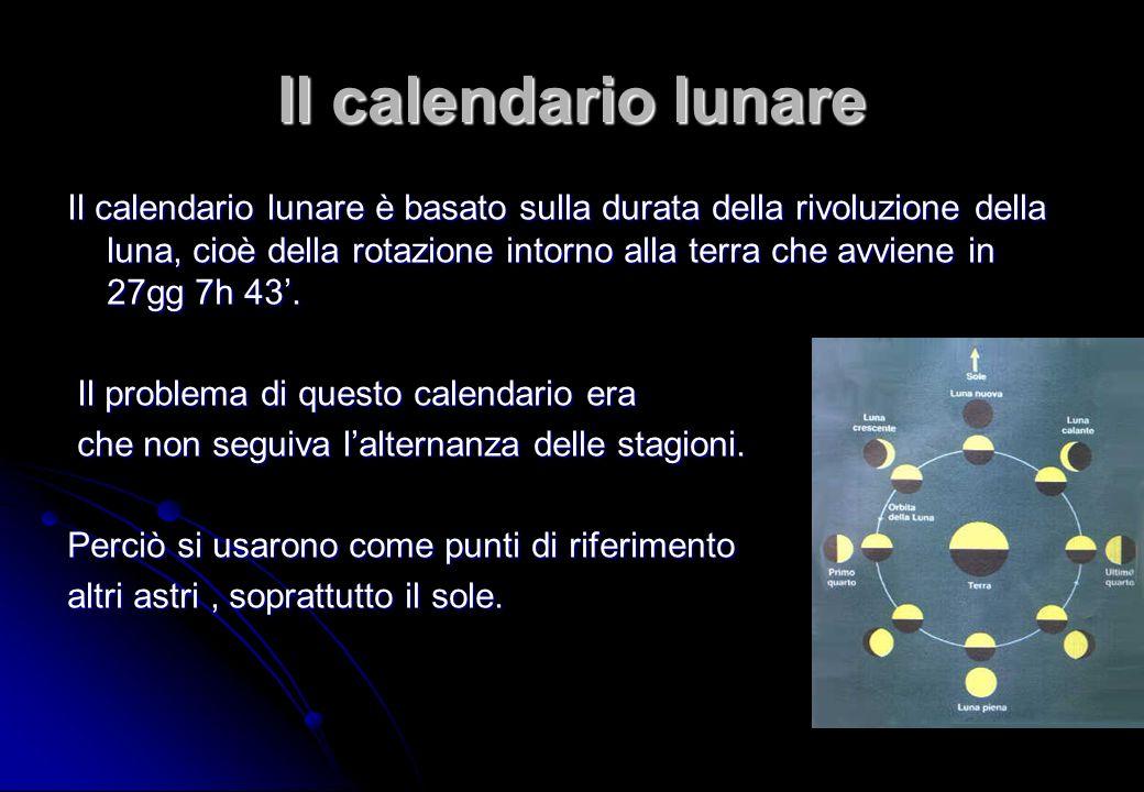 Il calendario lunare Il calendario lunare è basato sulla durata della rivoluzione della luna, cioè della rotazione intorno alla terra che avviene in 2