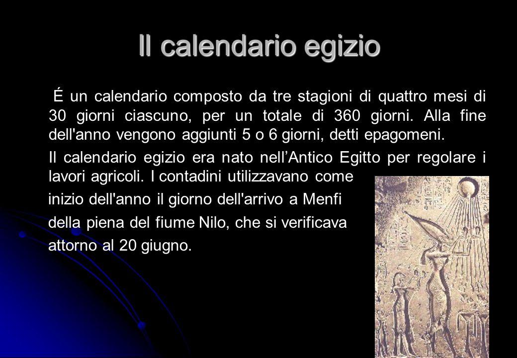 Il calendario egizio É un calendario composto da tre stagioni di quattro mesi di 30 giorni ciascuno, per un totale di 360 giorni. Alla fine dell'anno