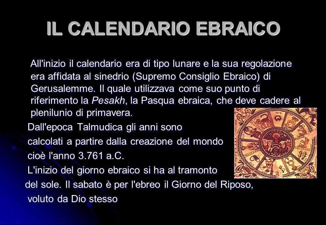 IL CALENDARIO EBRAICO All'inizio il calendario era di tipo lunare e la sua regolazione era affidata al sinedrio (Supremo Consiglio Ebraico) di Gerusal