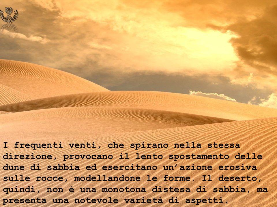 I frequenti venti, che spirano nella stessa direzione, provocano il lento spostamento delle dune di sabbia ed esercitano unazione erosiva sulle rocce,