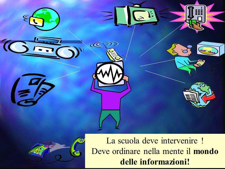 La scuola deve intervenire ! Deve ordinare nella mente il mondo delle informazioni!