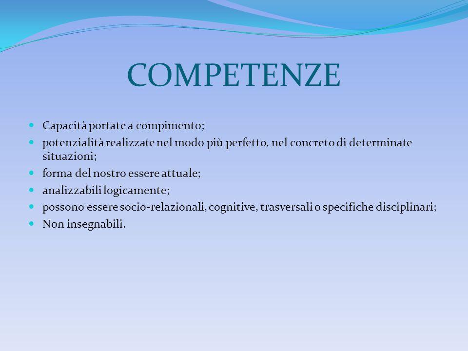 COMPETENZE Capacità portate a compimento; potenzialità realizzate nel modo più perfetto, nel concreto di determinate situazioni; forma del nostro esse