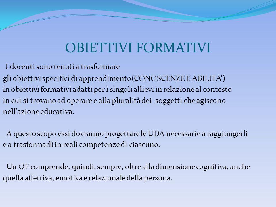 OBIETTIVI FORMATIVI I docenti sono tenuti a trasformare gli obiettivi specifici di apprendimento(CONOSCENZE E ABILITA) in obiettivi formativi adatti p