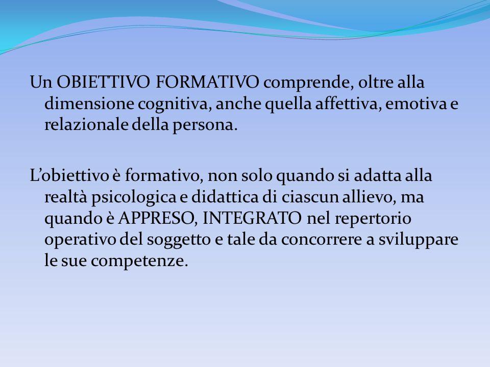 Un OBIETTIVO FORMATIVO comprende, oltre alla dimensione cognitiva, anche quella affettiva, emotiva e relazionale della persona. Lobiettivo è formativo