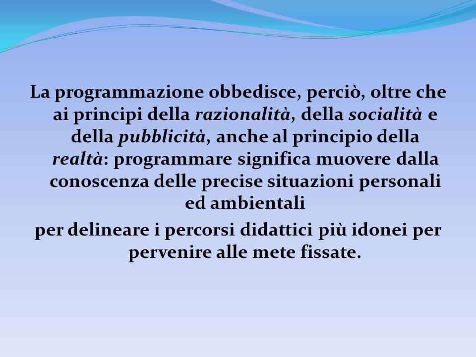 La programmazione obbedisce, perciò, oltre che ai principi della razionalità, della socialità e della pubblicità, anche al principio della realtà: pro