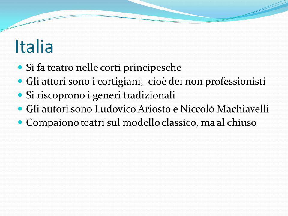 Italia Si fa teatro nelle corti principesche Gli attori sono i cortigiani, cioè dei non professionisti Si riscoprono i generi tradizionali Gli autori