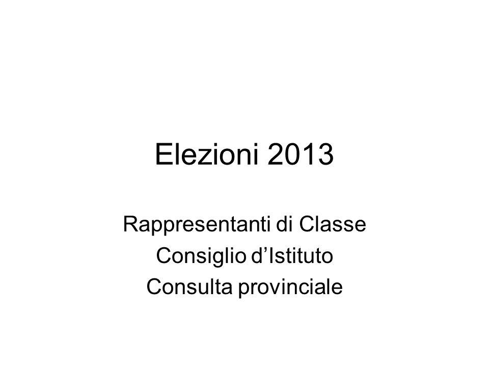 Elezioni 2013 Rappresentanti di Classe Consiglio dIstituto Consulta provinciale