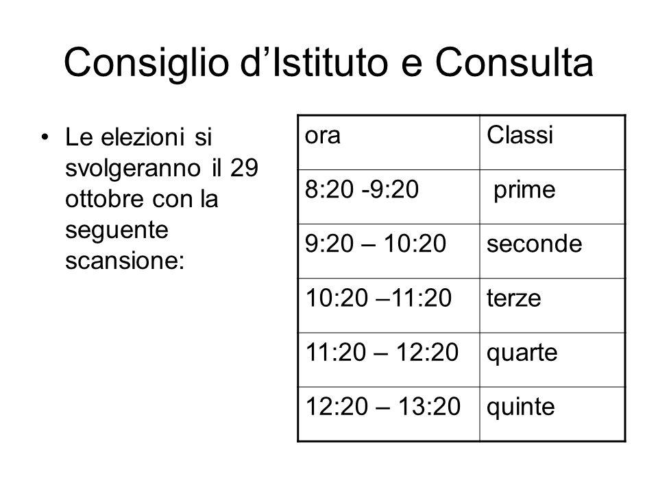 Consiglio dIstituto e Consulta Le elezioni si svolgeranno il 29 ottobre con la seguente scansione: oraClassi 8:20 -9:20 prime 9:20 – 10:20seconde 10:2