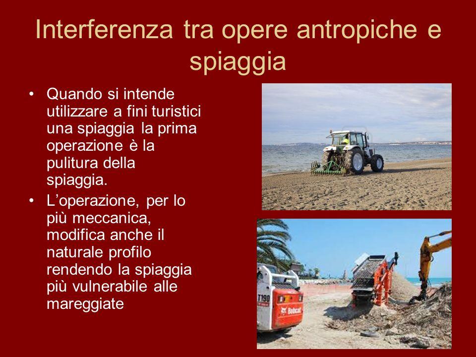 Interferenza tra opere antropiche e spiaggia Quando si intende utilizzare a fini turistici una spiaggia la prima operazione è la pulitura della spiagg