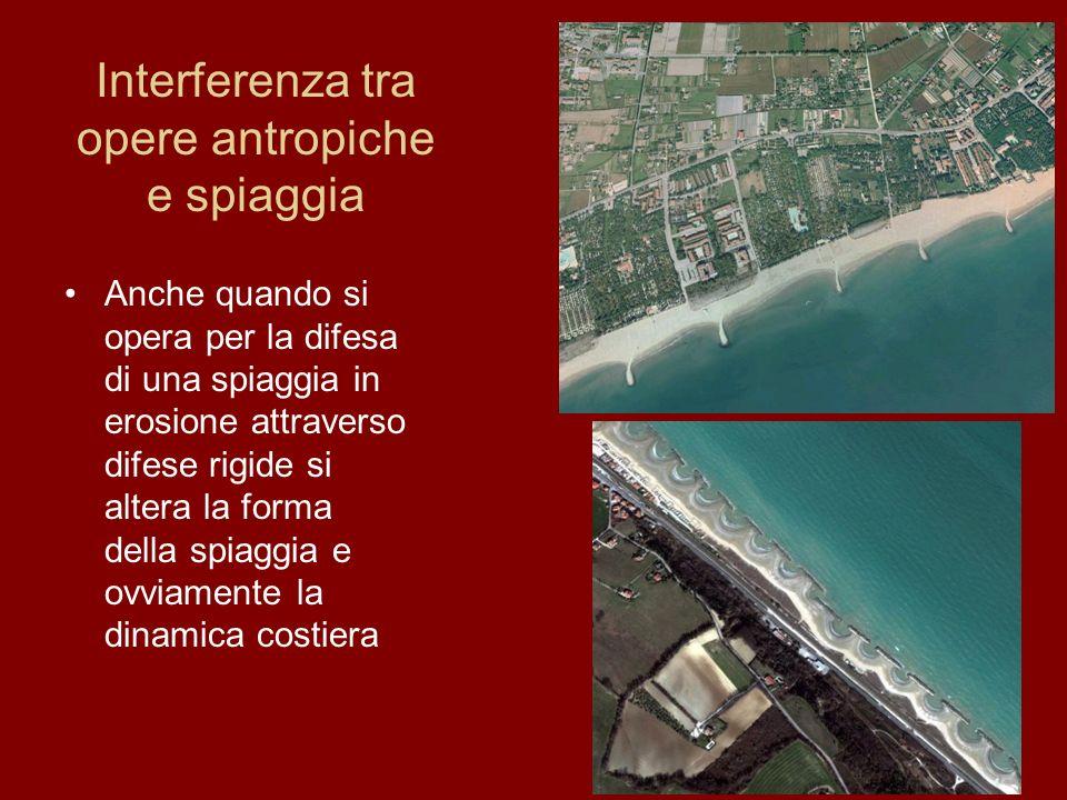Interferenza tra opere antropiche e spiaggia Anche quando si opera per la difesa di una spiaggia in erosione attraverso difese rigide si altera la for