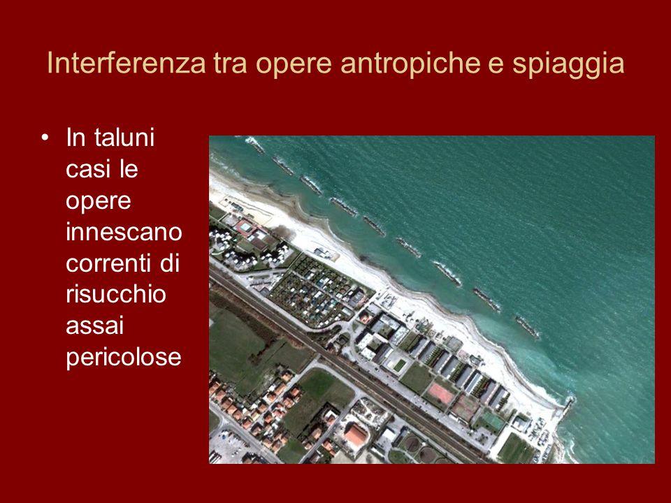 Interferenza tra opere antropiche e spiaggia In taluni casi le opere innescano correnti di risucchio assai pericolose