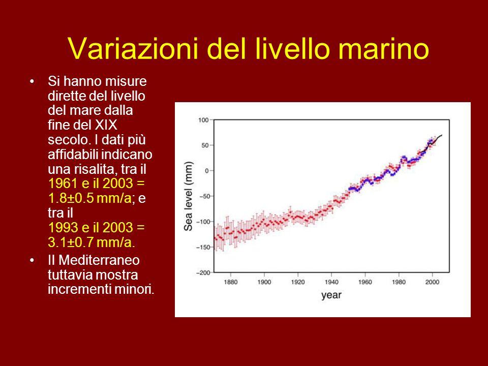 Variazioni del livello marino Si hanno misure dirette del livello del mare dalla fine del XIX secolo. I dati più affidabili indicano una risalita, tra